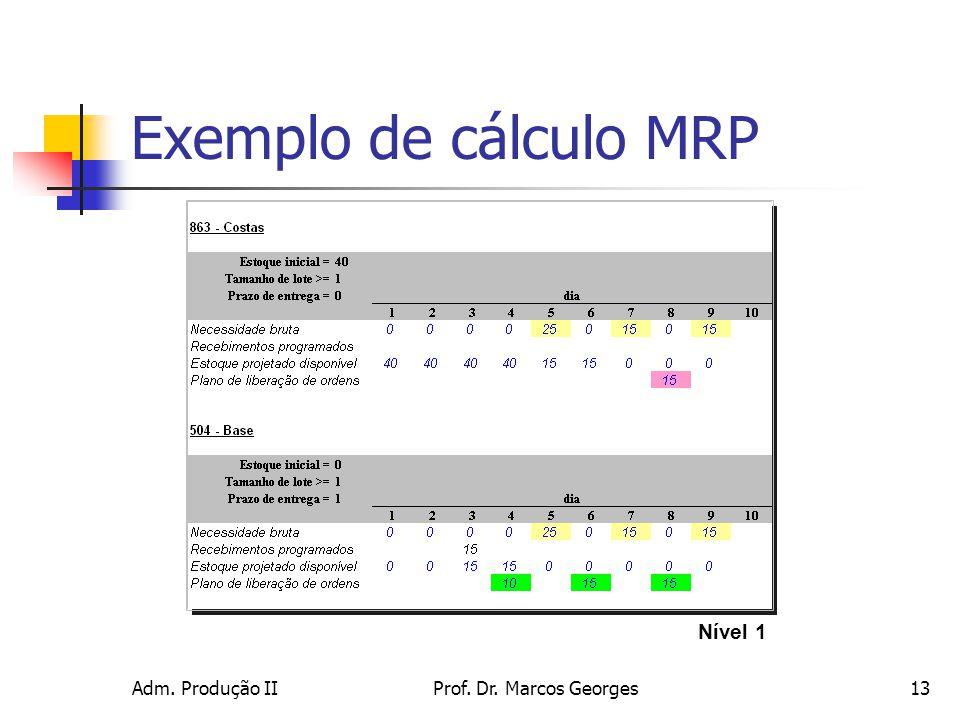 Adm. Produção IIProf. Dr. Marcos Georges13 Exemplo de cálculo MRP Nível 1