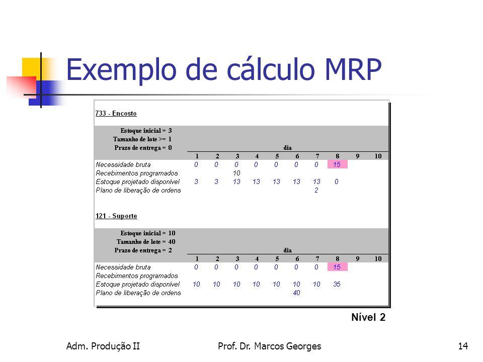 Adm. Produção IIProf. Dr. Marcos Georges14 Exemplo de cálculo MRP Nível 2