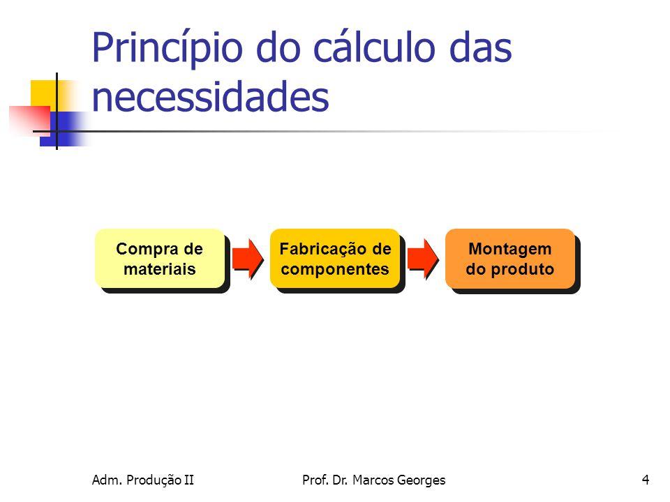 Adm. Produção IIProf. Dr. Marcos Georges15 Exemplo de cálculo MRP Nível 2