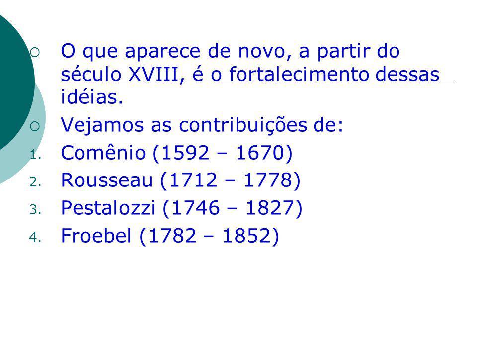 O que aparece de novo, a partir do século XVIII, é o fortalecimento dessas idéias. Vejamos as contribuições de: 1. Comênio (1592 – 1670) 2. Rousseau (