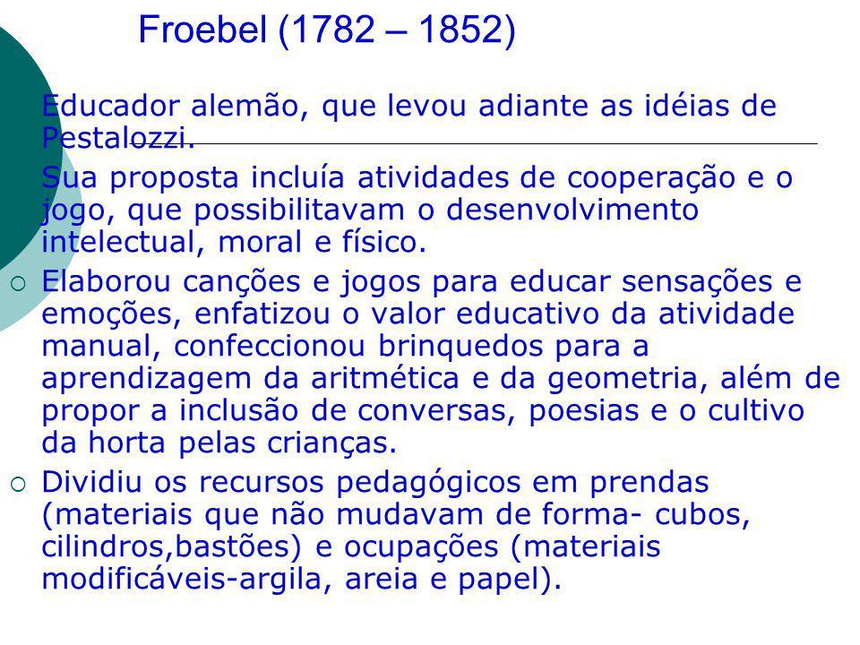 Froebel (1782 – 1852) Educador alemão, que levou adiante as idéias de Pestalozzi. Sua proposta incluía atividades de cooperação e o jogo, que possibil
