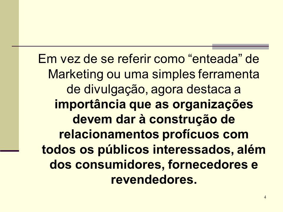 4 Em vez de se referir como enteada de Marketing ou uma simples ferramenta de divulgação, agora destaca a importância que as organizações devem dar à construção de relacionamentos profícuos com todos os públicos interessados, além dos consumidores, fornecedores e revendedores.