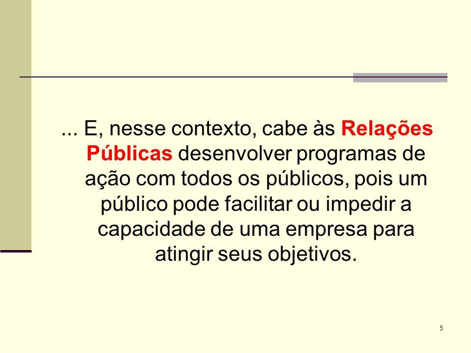 5... E, nesse contexto, cabe às Relações Públicas desenvolver programas de ação com todos os públicos, pois um público pode facilitar ou impedir a cap