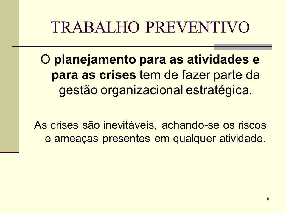 8 TRABALHO PREVENTIVO O planejamento para as atividades e para as crises tem de fazer parte da gestão organizacional estratégica.