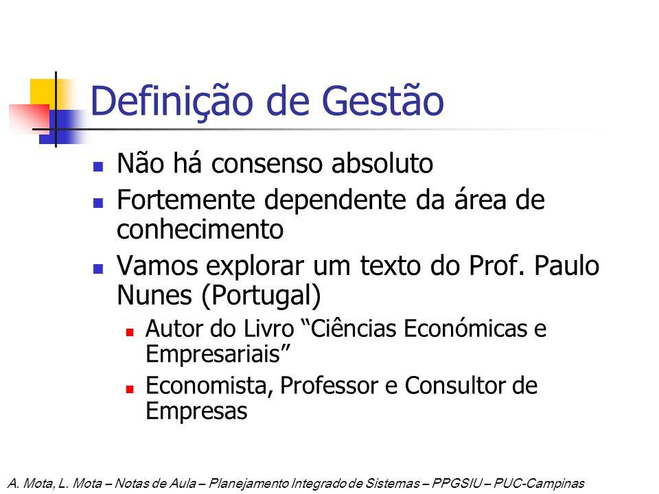 Definição de Gestão Não há consenso absoluto Fortemente dependente da área de conhecimento Vamos explorar um texto do Prof. Paulo Nunes (Portugal) Aut