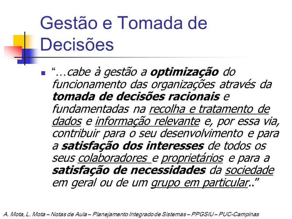 Gestão e Tomada de Decisões … cabe à gestão a optimização do funcionamento das organizações através da tomada de decisões racionais e fundamentadas na