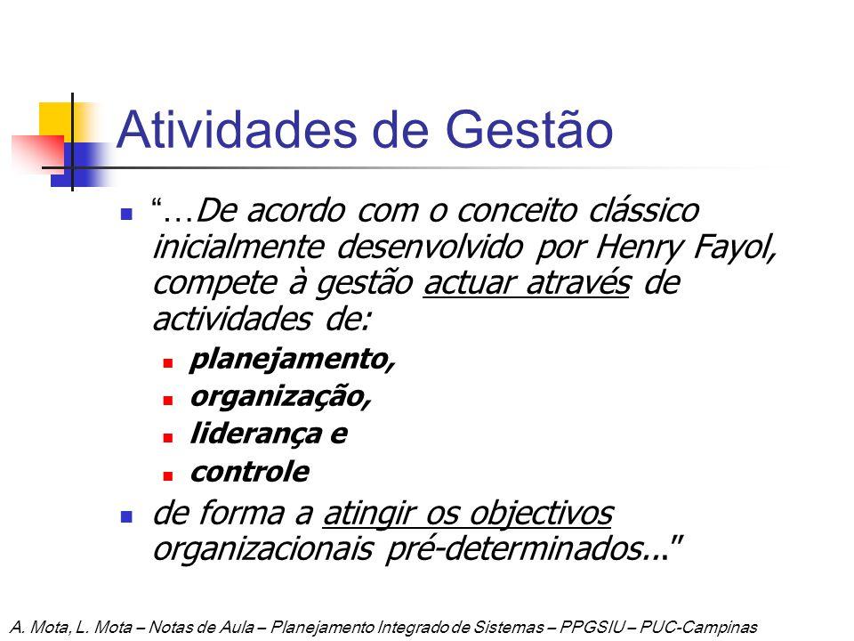 Atividades de Gestão … De acordo com o conceito clássico inicialmente desenvolvido por Henry Fayol, compete à gestão actuar através de actividades de: