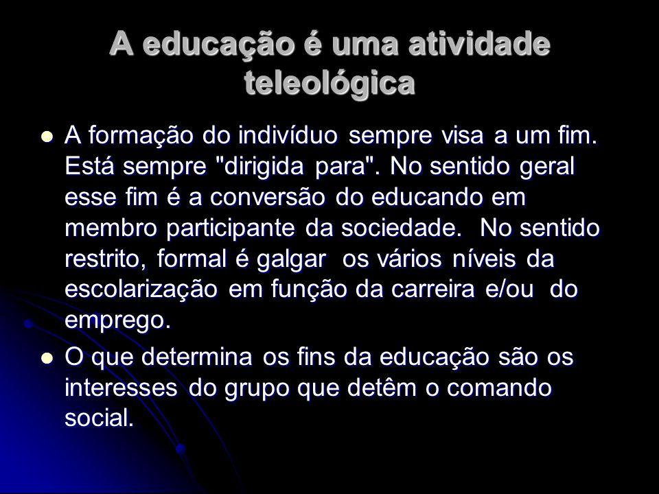 A educação é uma atividade teleológica A formação do indivíduo sempre visa a um fim. Está sempre
