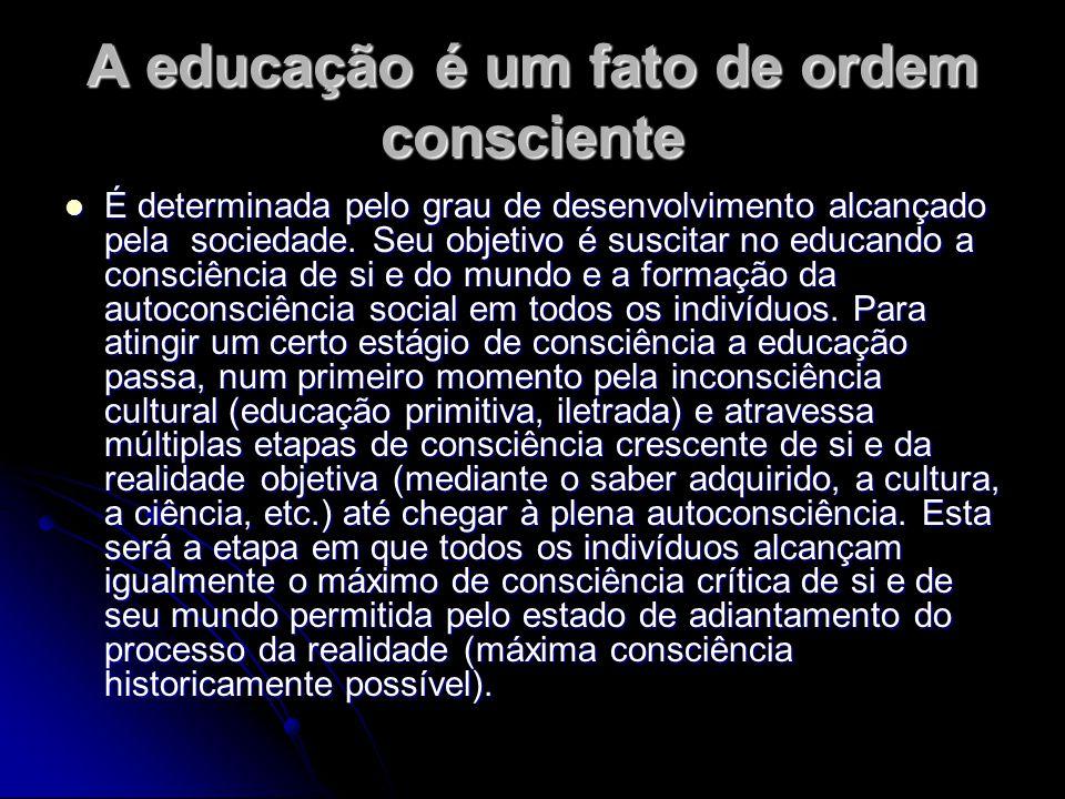 A educação é um fato de ordem consciente É determinada pelo grau de desenvolvimento alcançado pela sociedade. Seu objetivo é suscitar no educando a co