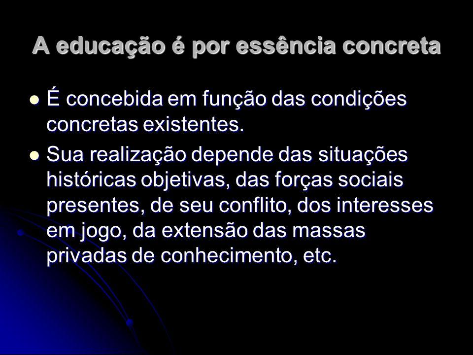 A educação é por essência concreta É concebida em função das condições concretas existentes. É concebida em função das condições concretas existentes.