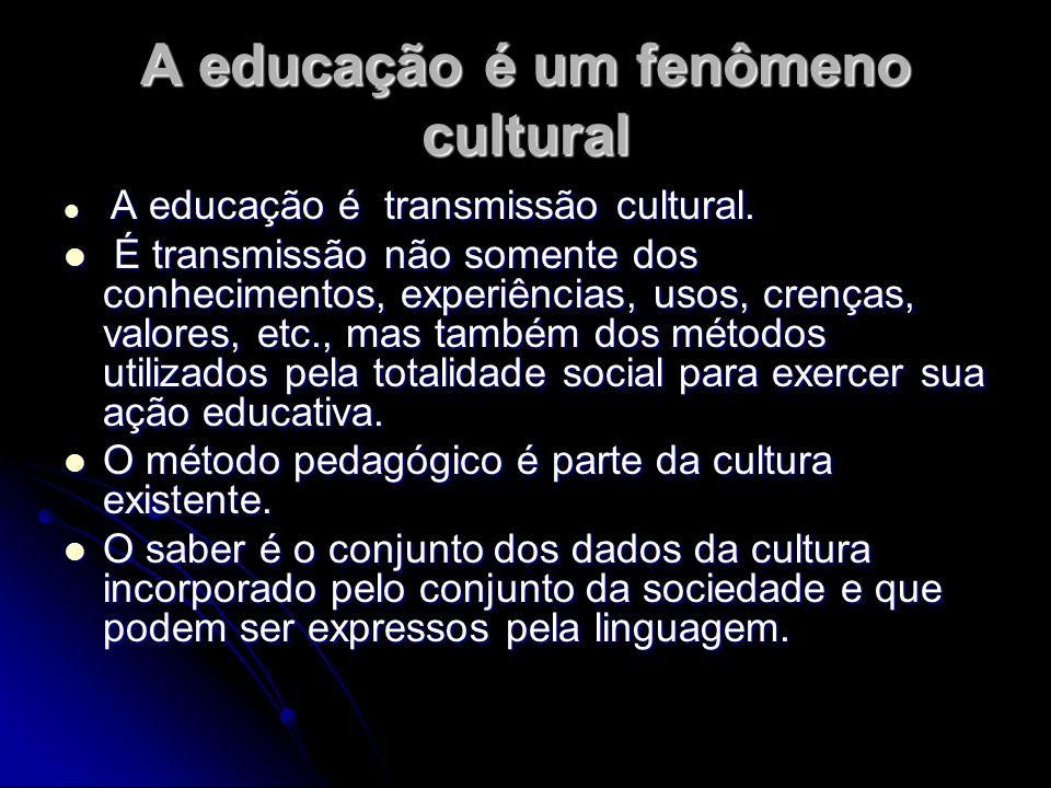 A educação é um fenômeno cultural A educação é transmissão cultural. A educação é transmissão cultural. É transmissão não somente dos conhecimentos, e