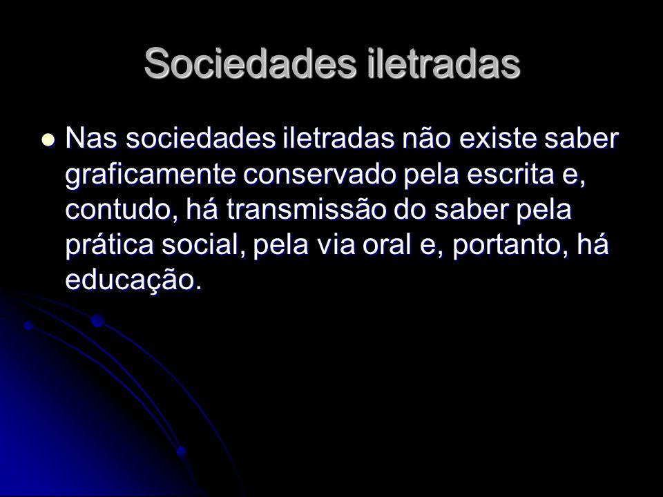 Nas sociedades altamente desenvolvidas Nas sociedades com divisões internas em classes opostas, a educação não pode consistir na formação uniforme de todos os seus membros, porque se busca manter a desigualdade social presente.