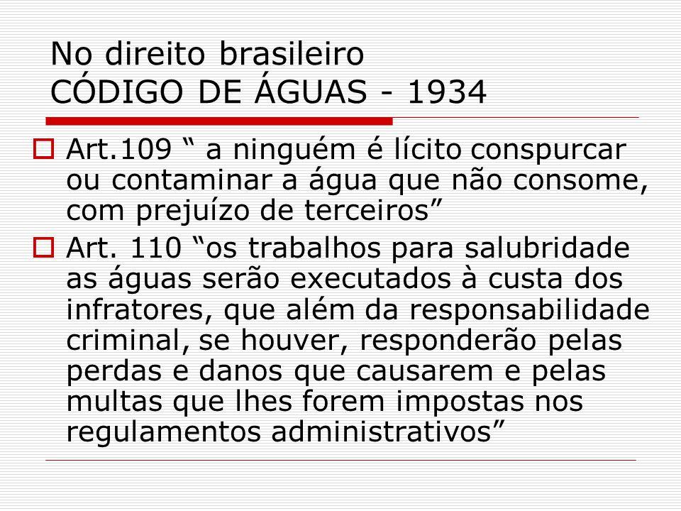 No direito brasileiro CÓDIGO DE ÁGUAS - 1934 Art.109 a ninguém é lícito conspurcar ou contaminar a água que não consome, com prejuízo de terceiros Art.
