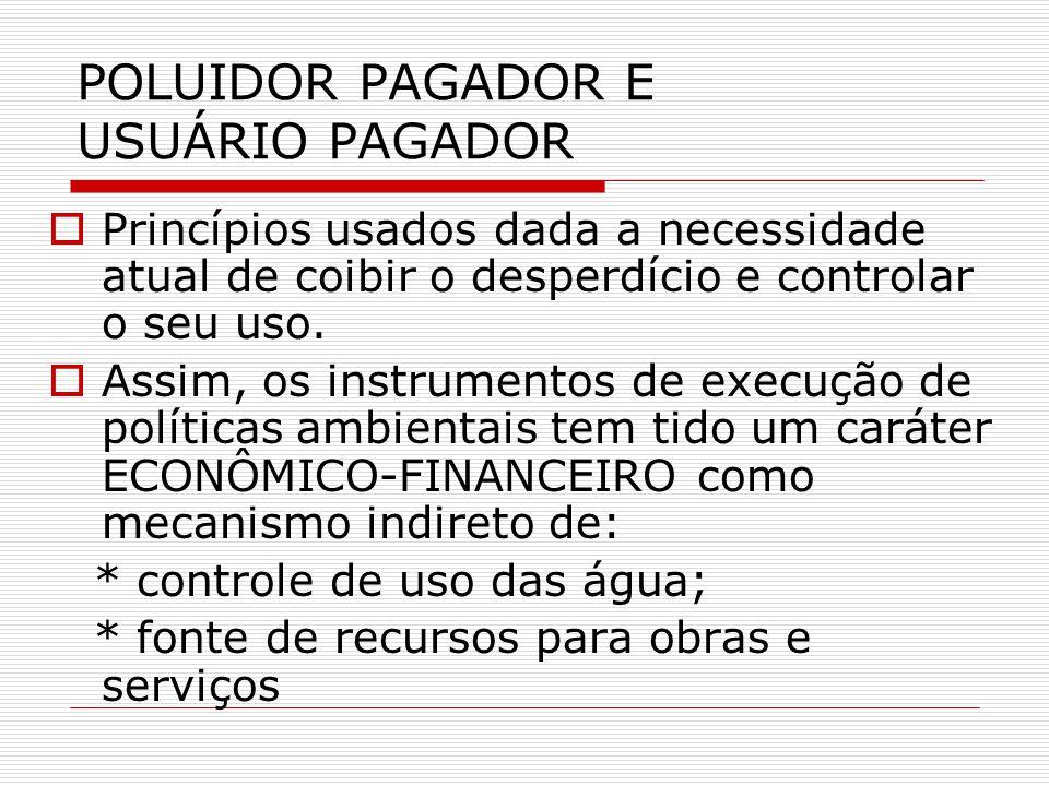 POLUIDOR PAGADOR E USUÁRIO PAGADOR Princípios usados dada a necessidade atual de coibir o desperdício e controlar o seu uso.