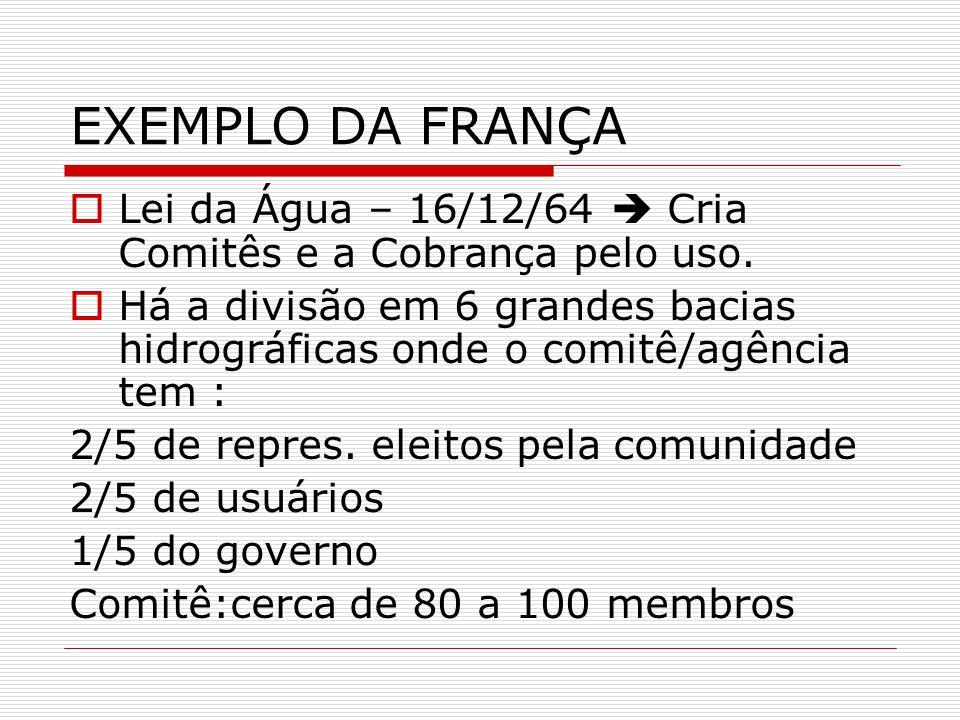EXEMPLO DA FRANÇA Lei da Água – 16/12/64 Cria Comitês e a Cobrança pelo uso.