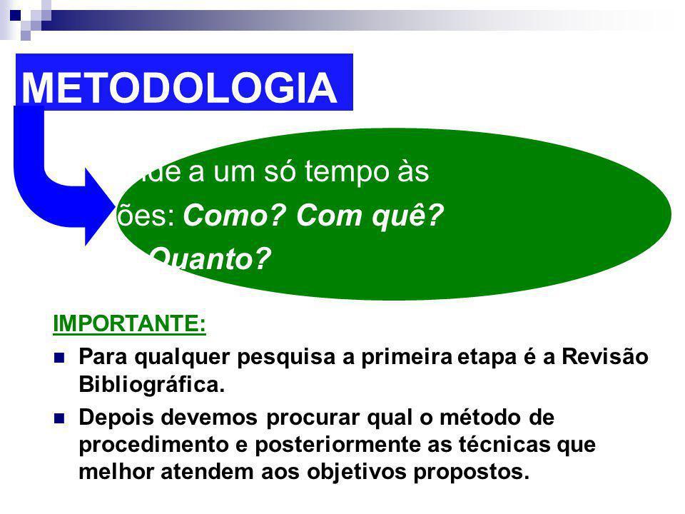 METODOLOGIA Responde a um só tempo às questões: Como? Com quê? Onde? Quanto? IMPORTANTE: Para qualquer pesquisa a primeira etapa é a Revisão Bibliográ