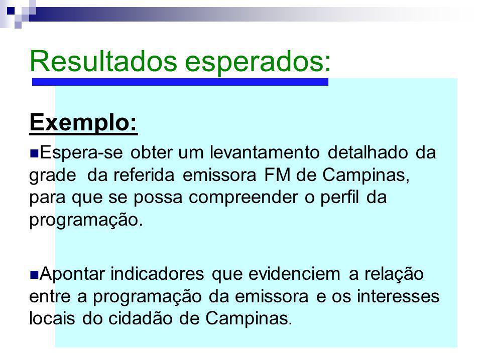 Resultados esperados: Exemplo: Espera-se obter um levantamento detalhado da grade da referida emissora FM de Campinas, para que se possa compreender o