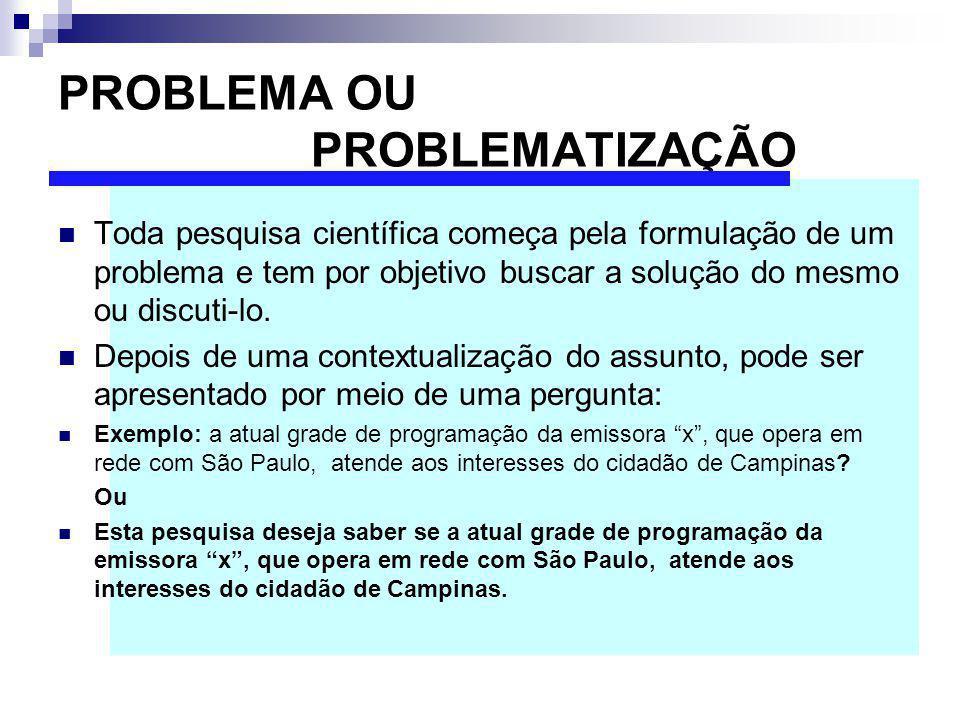 PROBLEMA OU PROBLEMATIZAÇÃO Toda pesquisa científica começa pela formulação de um problema e tem por objetivo buscar a solução do mesmo ou discuti-lo.