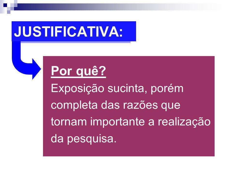 JUSTIFICATIVA: Por quê.