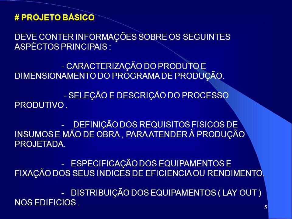 5 # PROJETO BÁSICO DEVE CONTER INFORMAÇÕES SOBRE OS SEGUINTES ASPÉCTOS PRINCIPAIS : - CARACTERIZAÇÃO DO PRODUTO E DIMENSIONAMENTO DO PROGRAMA DE PRODU