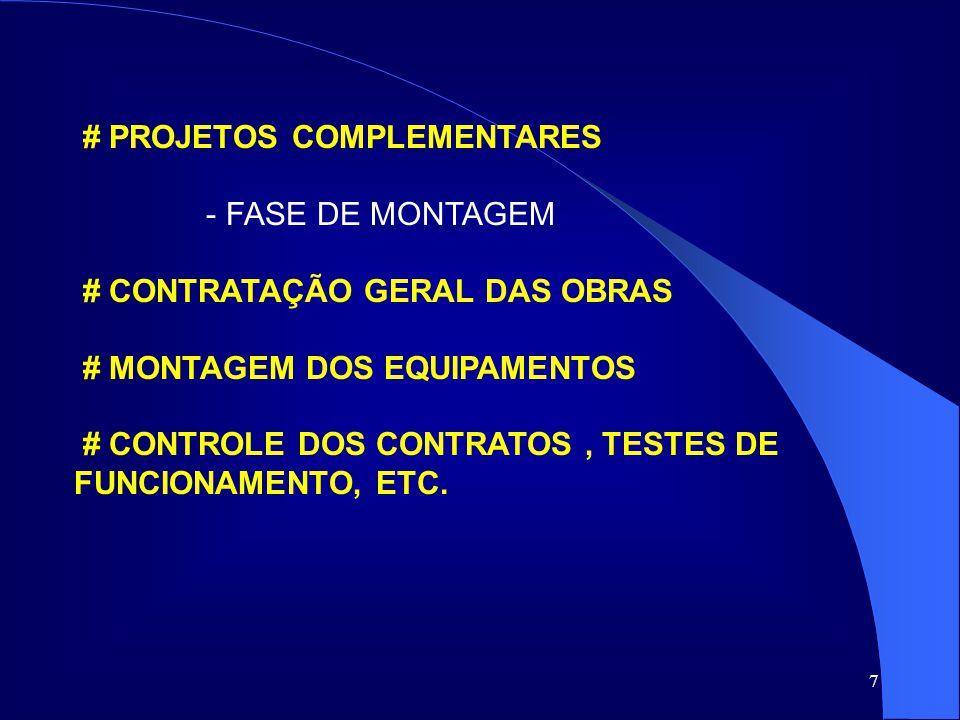 7 # PROJETOS COMPLEMENTARES - FASE DE MONTAGEM # CONTRATAÇÃO GERAL DAS OBRAS # MONTAGEM DOS EQUIPAMENTOS # CONTROLE DOS CONTRATOS, TESTES DE FUNCIONAM