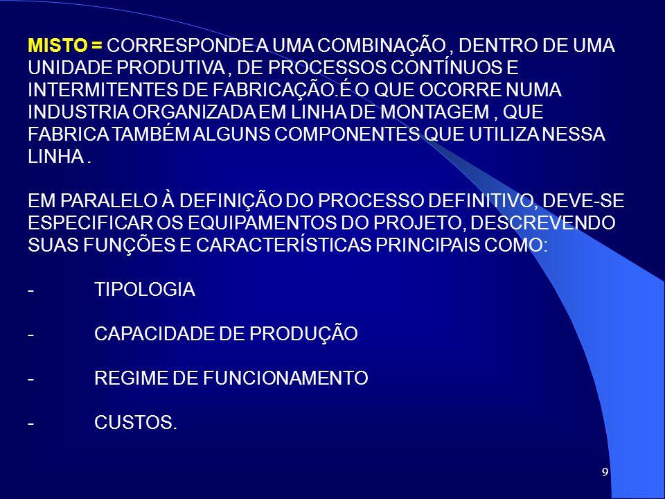 10 FATORES TÉCNICOS E ECONÔMICOS DEVEM SER CONSIDERADOS: 1-) TÉCNICOS : -CAPACIDADE DE PRODUÇÃO, EM REGIME NORMAL DE TRABALHO, COM ESPECIFICAÇÃO DA PRODUÇÃO HORÁRIA, TURNOS DE FUNCIONAMENTO E EVENTUAIS FOLGAS.