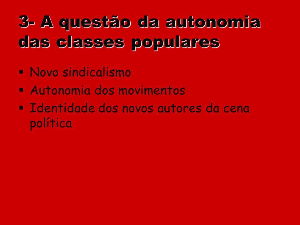 3- A questão da autonomia das classes populares Novo sindicalismo Autonomia dos movimentos Identidade dos novos autores da cena política
