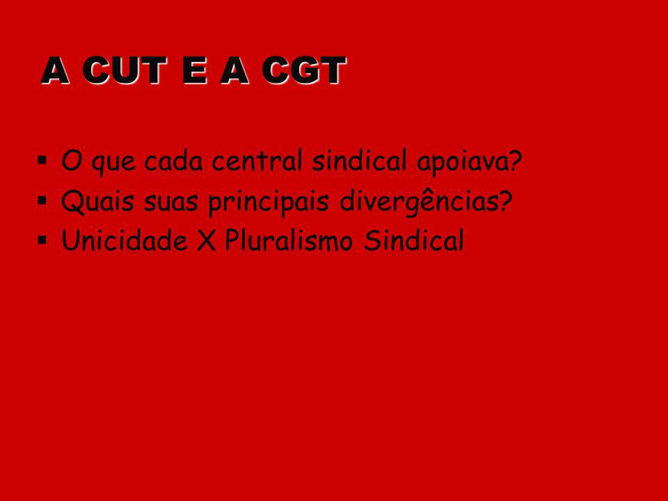 A CUT E A CGT O que cada central sindical apoiava? Quais suas principais divergências? Unicidade X Pluralismo Sindical