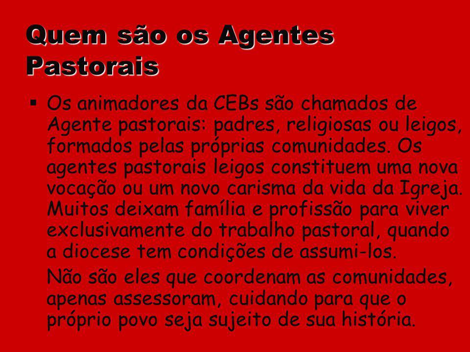 Quem são os Agentes Pastorais Os animadores da CEBs são chamados de Agente pastorais: padres, religiosas ou leigos, formados pelas próprias comunidade