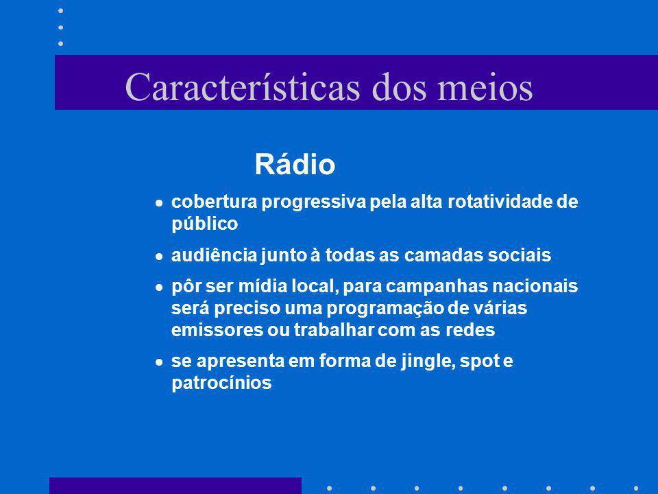 Características dos meios Rádio cobertura progressiva pela alta rotatividade de público audiência junto à todas as camadas sociais pôr ser mídia local