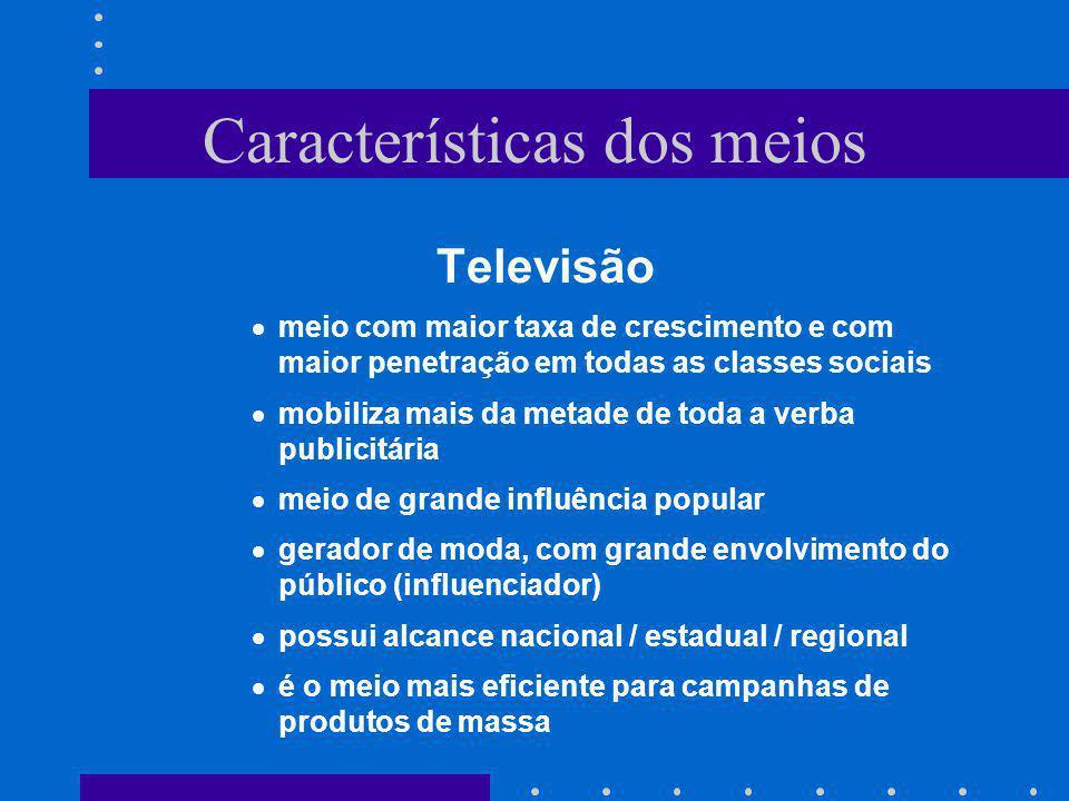 Características dos meios Televisão meio com maior taxa de crescimento e com maior penetração em todas as classes sociais mobiliza mais da metade de t