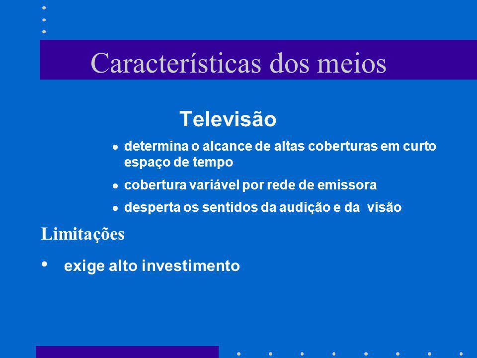 Características dos meios Televisão determina o alcance de altas coberturas em curto espaço de tempo cobertura variável por rede de emissora desperta