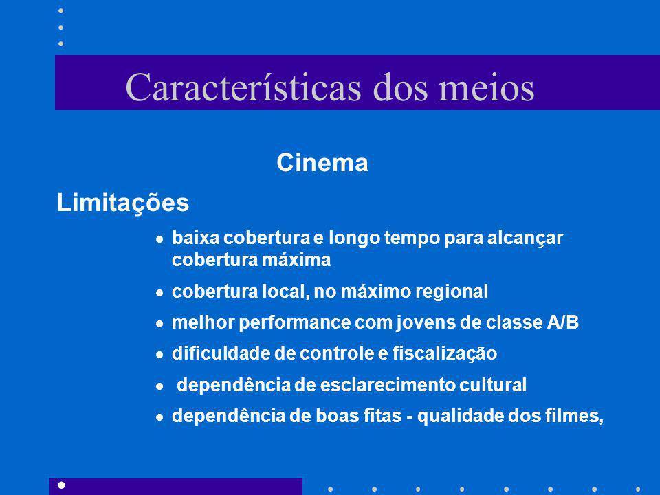 Características dos meios Cinema Limitações baixa cobertura e longo tempo para alcançar cobertura máxima cobertura local, no máximo regional melhor pe