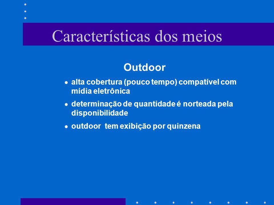 Características dos meios Outdoor alta cobertura (pouco tempo) compatível com mídia eletrônica determinação de quantidade é norteada pela disponibilid