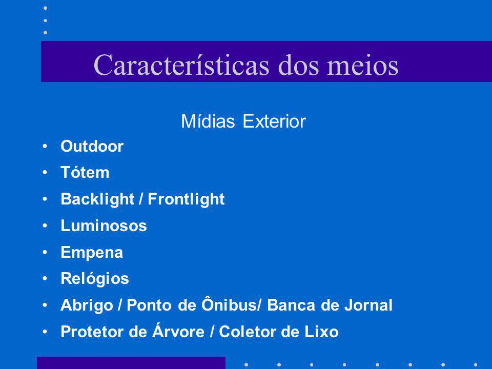 Características dos meios Mídias Exterior Outdoor Tótem Backlight / Frontlight Luminosos Empena Relógios Abrigo / Ponto de Ônibus/ Banca de Jornal Pro