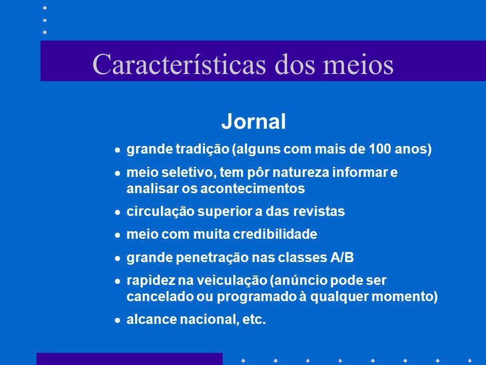Características dos meios Jornal grande tradição (alguns com mais de 100 anos) meio seletivo, tem pôr natureza informar e analisar os acontecimentos c