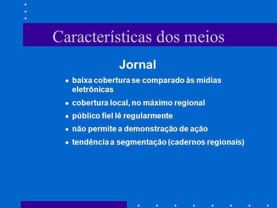 Características dos meios Jornal baixa cobertura se comparado às midias eletrônicas cobertura local, no máximo regional público fiel lê regularmente n
