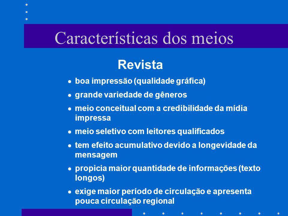 Características dos meios Revista boa impressão (qualidade gráfica) grande variedade de gêneros meio conceitual com a credibilidade da mídia impressa