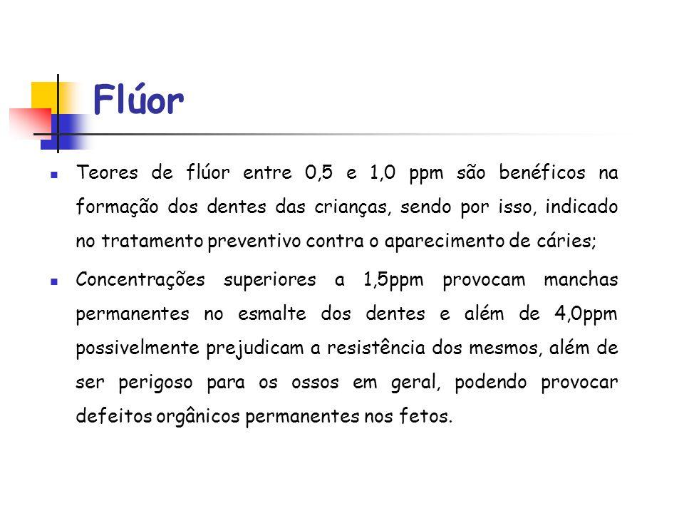 Flúor Teores de flúor entre 0,5 e 1,0 ppm são benéficos na formação dos dentes das crianças, sendo por isso, indicado no tratamento preventivo contra
