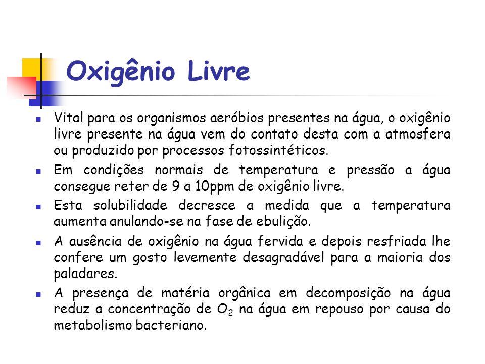 Oxigênio Livre Vital para os organismos aeróbios presentes na água, o oxigênio livre presente na água vem do contato desta com a atmosfera ou produzid