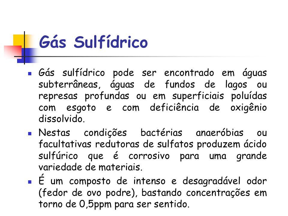 Gás Sulfídrico Gás sulfídrico pode ser encontrado em águas subterrâneas, águas de fundos de lagos ou represas profundas ou em superficiais poluídas co