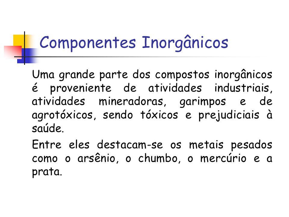 Componentes Inorgânicos Uma grande parte dos compostos inorgânicos é proveniente de atividades industriais, atividades mineradoras, garimpos e de agro