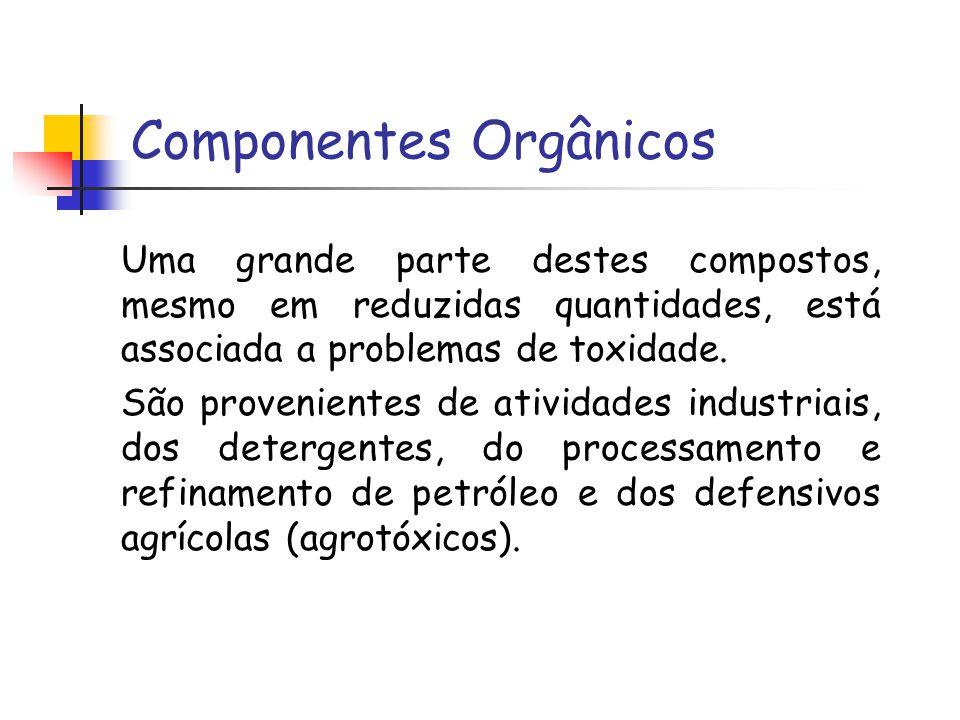 Componentes Orgânicos Uma grande parte destes compostos, mesmo em reduzidas quantidades, está associada a problemas de toxidade. São provenientes de a