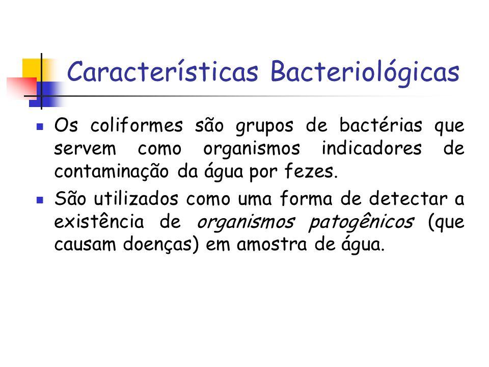 Características Bacteriológicas Os coliformes são grupos de bactérias que servem como organismos indicadores de contaminação da água por fezes. São ut