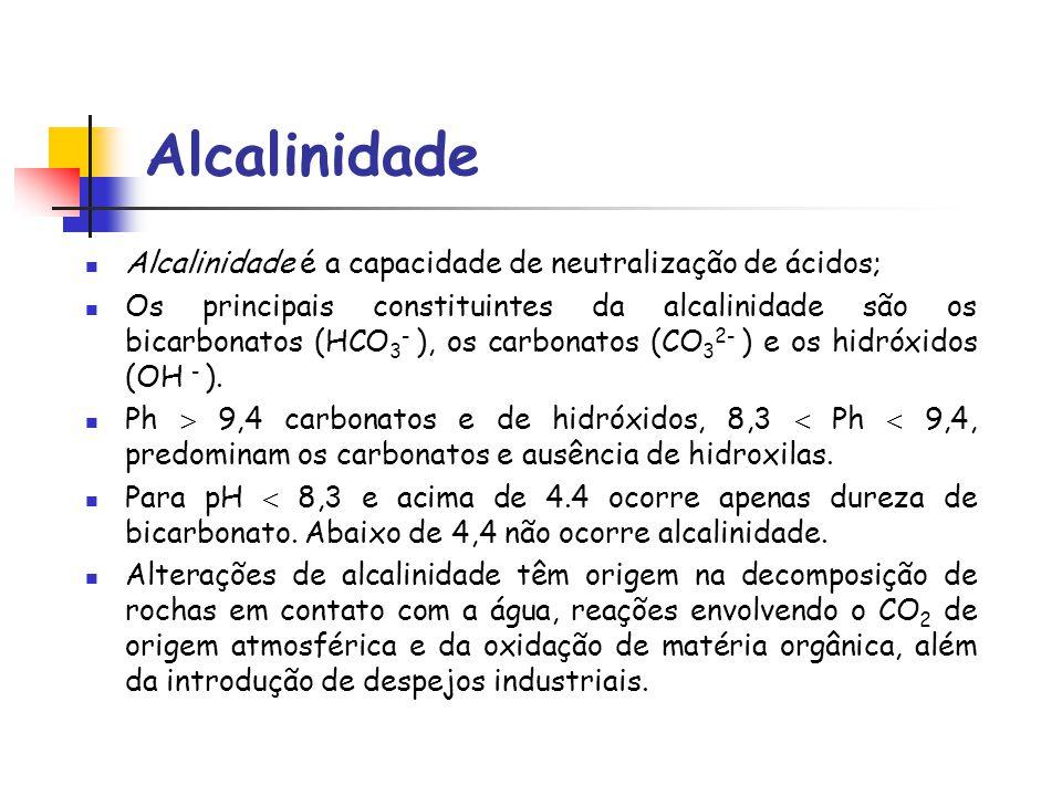 Alcalinidade Alcalinidade é a capacidade de neutralização de ácidos; Os principais constituintes da alcalinidade são os bicarbonatos (HCO 3 - ), os ca