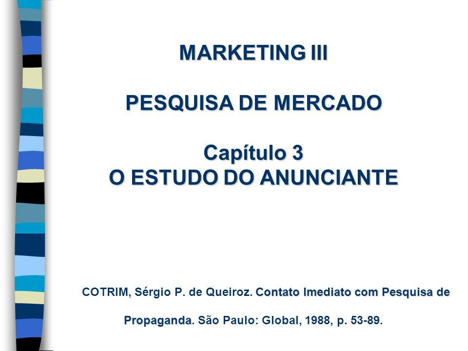 MARKETING III PESQUISA DE MERCADO Capítulo 3 O ESTUDO DO ANUNCIANTE Contato Imediato com Pesquisa de Propaganda MARKETING III PESQUISA DE MERCADO Capí