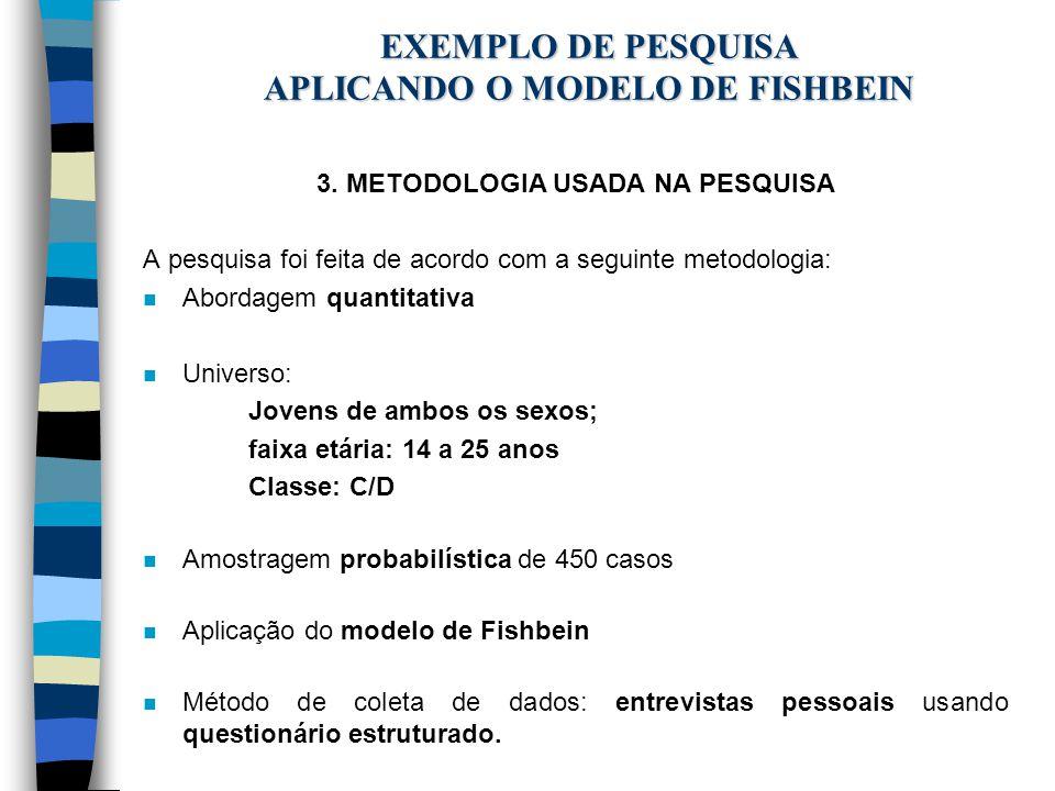 EXEMPLO DE PESQUISA APLICANDO O MODELO DE FISHBEIN 3. METODOLOGIA USADA NA PESQUISA A pesquisa foi feita de acordo com a seguinte metodologia: n Abord