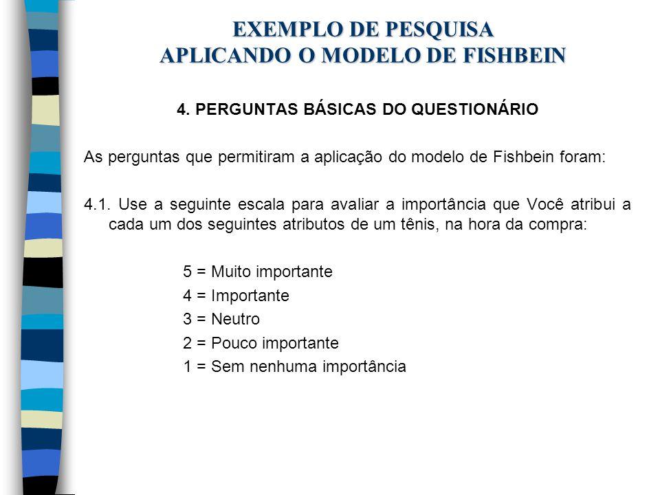 EXEMPLO DE PESQUISA APLICANDO O MODELO DE FISHBEIN 4. PERGUNTAS BÁSICAS DO QUESTIONÁRIO As perguntas que permitiram a aplicação do modelo de Fishbein