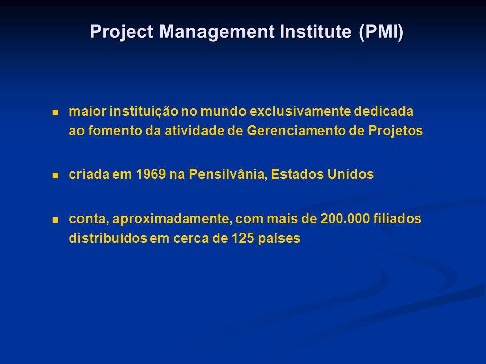 Project Management Institute (PMI) maior instituição no mundo exclusivamente dedicada ao fomento da atividade de Gerenciamento de Projetos criada em 1969 na Pensilvânia, Estados Unidos conta, aproximadamente, com mais de 200.000 filiados distribuídos em cerca de 125 países
