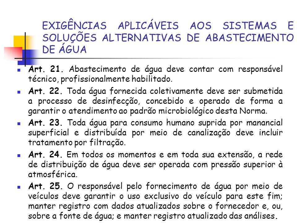 EXIGÊNCIAS APLICÁVEIS AOS SISTEMAS E SOLUÇÕES ALTERNATIVAS DE ABASTECIMENTO DE ÁGUA Art. 21. Abastecimento de água deve contar com responsável técnico